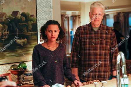Ashley Aufderheide as Mia Evans and Clancy Brown as Ed Sawyer