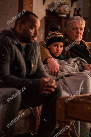 Donald Faison as Alex Evans, Ashley Aufderheide as Mia Evans and Clancy Brown as Ed Sawyer