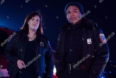 Allison Tolman as Jo Evans and Robert Bailey Jr as Officer Chris Minetto