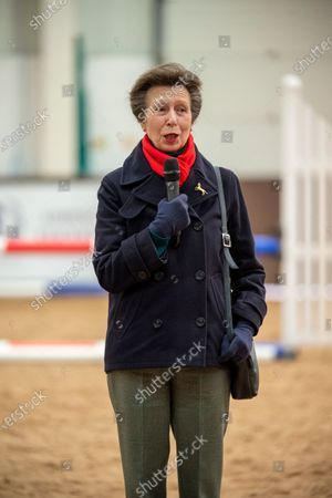 Her Royal Highness Princess Anne addresses the British Horse Society National Coaching Convention at Addington Equestrian Centre, Buckinghamshire, United Kingdom - 16 March 2020