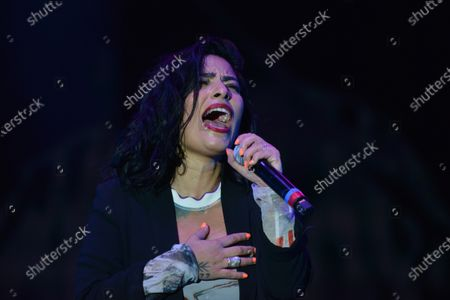 Stock Picture of Chilean singer Ana Tijoux sings on stage during the festival as part of Women's Day