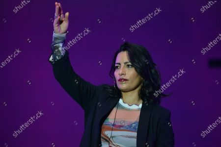 Stock Photo of Chilean singer Ana Tijoux sings on stage during the festival as part of Women's Day