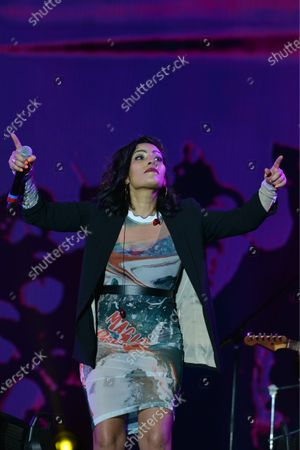 Stock Image of Chilean singer Ana Tijoux sings on stage during the festival as part of Women's Day