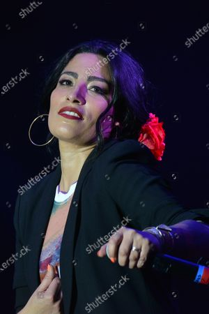 Chilean singer Ana Tijoux sings on stage during the festival as part of Women's Day