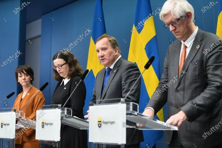 Matilda Ernkrans (L), Minister for Higher Education and Research; Anna Ekstrom (2-L), Minister of Education; Prime Minister Stefan Lofven (2-R) and Johan Carlson (R), executive officer for the Swedish Health Authority, participate in a a press conference at Rosenbad in Stockholm, Sweden, 17 March 2020. Sweden's goverment adviced upper secondary schools and universitys to close down and provide distance learning, to combat the spread of the coronavirus pandemic.