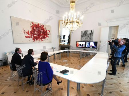 Austrian Chancellor Sebastian Kurz (C), Austrian Foreign Minister Alexander Schallenberg (L) and Austrian Minister for European Union Affairs Karoline Edtstadler (R) attend a Western Balkan video conference at the Austrian Chancellery in Vienna, Austria, 17 March 2020. Kurz, the Heads of Governments of Western Balkan countries and European Commissioner in charge of neighbourhood and enlargement policy, discuss further steps to bring the states closer to the European Union and current political issues. Due to the SARS-CoV-2 coronavirus outbreak, a Western Balkan meeting in Vienna was cancelled and is held as a video conference instead. Participants: Prime Minister of Albania Edi Rama, head of the Council of Ministers of Bosnia and Herzegovina Zoran Tegeltija, Prime Minister of the Republic of Kosovo Albin Kurti,  Montenegro President Dusko Markovic, North Macedonia's temporary Prime Minister Oliver Spasovski, Serbian Prime Minister Ana Brnabic and European Commissioner in charge of neighbourhood and enlargement policy, Oliver Varhelyi.