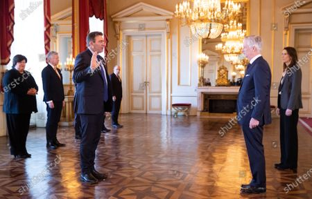 Minister SMEs, Entrepreneurs, Agriculture and Social Integration Denis Ducarme, King Philippe and Belgian Prime Minister Sophie Wilmes pictured during the oath ceremony at the Royal Palace