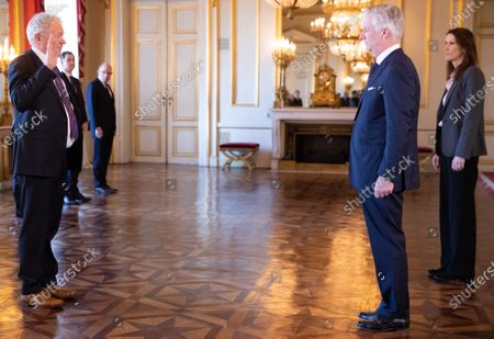 Minister of Mobility Francois Bellot, King Philippe and Belgian Prime Minister Sophie Wilmes pictured during the oath ceremony at the Royal Palace