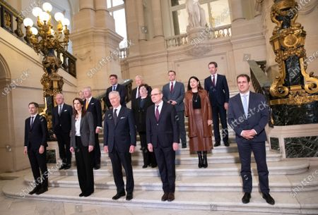 Minister of Cooperation Development, Digital Agenda, Postal services and Finance Alexander De Croo, Belgian Prime Minister Sophie Wilmes, King Philippe - Filip of Belgium, Minister of Justice Koen Geens and Vice-Prime Minister and Minister of Budget, Civil Services and Science David Clarinval pose with all Ministers after the oath ceremony at the Royal Palace