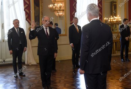 Minister of Justice Koen Geens and King Philippe during the oath ceremony at the Royal Palace