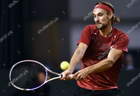 Belgian Ruben Bemelmans pictured in action during a tennis match between Hungarian Hungarian Balazs (ATP76) and Belgian Bemelmans (ATP169), the first rubber of the first round qualifiers in the Davis Cup World Group between Belgium and Hungary