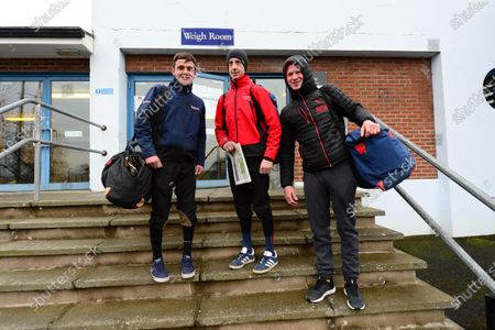 Stock Picture of DOWN ROYAL. Jockeys (L-R) Simon Torrens, Conor Maxwell and Paul Cawley arrive at today's race meeting which is held behind closed doors to the public because of Coronavirus.