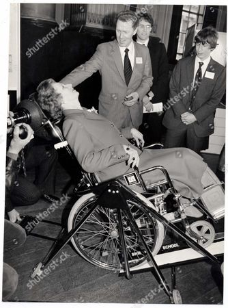 Margaret Thatcher Prime Minster 1981 The Prime Minister At The School Design Prize Held At The Intitution Of Civil Engineers Today. The Prime Minister Tried Out An Inva-retro Chair For The Disabled Which Is Used To Tilt A Person In A Wheelchair Into A Reclining Position When They Visit A Dentist Hairdresser Etc. Designed By John Freeman And Ingram Legge Of Shrewsbury School ...baroness Margaret Thatcher...prime Minister