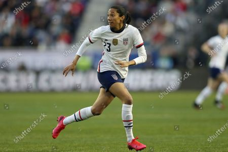 United States forward Christen Press (23) in action during the second half of a SheBelieves Cup soccer match against Spain, in Harrison, N.J. The United States won 1-0