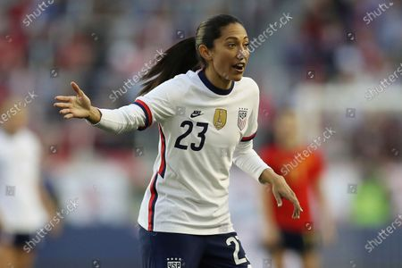United States forward Christen Press (23) points something out to a teammate during the second half of a SheBelieves Cup soccer match against Spain, in Harrison, N.J. The United States won 1-0