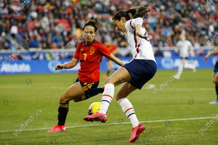 United States forward Christen Press (23) controls the ball while Spain defender Marta Corredera (7) defends during the second half of a SheBelieves Cup soccer match, in Harrison, N.J. The United States won 1-0