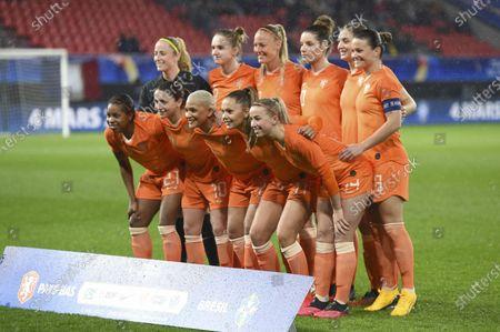 Dutch team group with Dutch goalkeeper Loes Geurts (23)   Dutch Aniek Nouwen (2)   Dutch Stefanie van der Gragt (3)   Dutch Sherida Spitse (8)   Dutch Vivianne Miedema (9)   Dutch Danielle van de Donk (10)   Dutch Lieke Martens (11)   Dutch Jackie Groenen (14)   Dutch Shanice van de Sanden (7)   Dutch Dominique Bloodworth (20)   Dutch Lineth Beerensteyn (21)