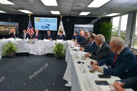 Sen. Rick Scott, Chad F. Wolf, the acting Secretary of Homeland Security, U.S. Vice President Mike Pence, Florida Governor Ron DeSantis, Sen. Marco Rubio, Eric Jones, Rear Admiral, Ted Deutch, Congressman, Richard Fain, Chairman of Royal Caribbean Internatinal LTD, Frank Del Rio, CEO of Norwegian Cruise Line Holding, Carlos Gimenez, Mayor of Miami Dade and Juan Kuryla, Port Director & CEO of Port of Miami sit together during a discussion with Cruise Line Company Leaders about possible coronavirus issues that the cruise line company leaders are experiencing at Port Everglades Administration Building in Fort Lauderdale