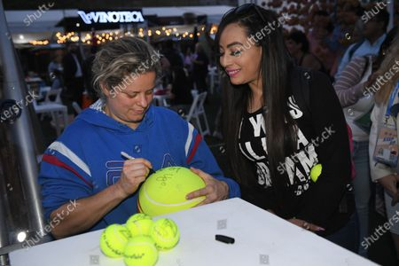 Belgian Kim Clijsters pictured during a signing session on the third day of the 'WTA Monterrey' tennis tournament in Monterrey.
