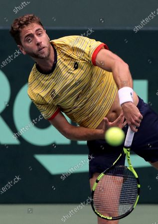 Roberto Quiroz of Ecuador in action during his match against Yasutaka Uchiyama of Japan at the Davis Cup qualifiers between Japan and Ecuador in Miki, Hyogo Prefecture, western Japan, 06 March 2020.