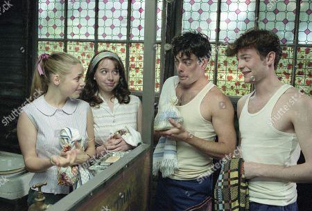 Victoria Shalet, as Vivenne, Alexandra Milman, as Juanita, Greg Faulkner, as Young Dave, Max Wrottesley, as Young Ronno.