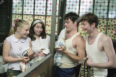 Stock Image of Victoria Shalet, as Vivenne, Alexandra Milman, as Juanita, Greg Faulkner, as Young Dave, Max Wrottesley, as Young Ronno.