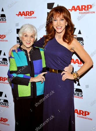 Stock Photo of Kathy Griffin, right, and mother Maggie Griffin arrive at the 2014 AARP's Movies for Grownups Gala, in Beverly Hills, Calif. Maggie Griffin, the mother of comedian Kathy Griffin, who inspired many of the jokes in her famous daughter's standup routines, died . She was 99