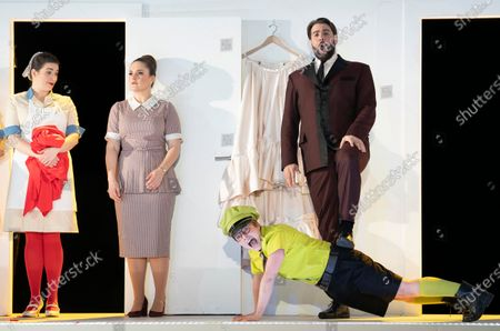 Louise Alder as Susanna, Bozidar Smiljanic as Figaro, Hanna Hipp as Cherubino