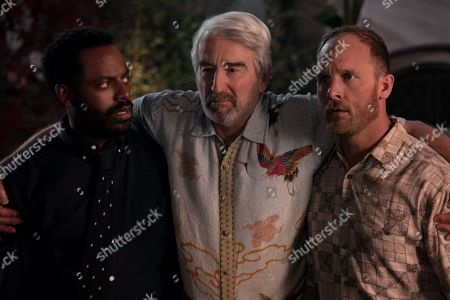 Stock Image of Baron Vaughn as Nwabudike Bergstein, Sam Waterston as Sol Bergstein and Ethan Embry as Coyote Bergstein