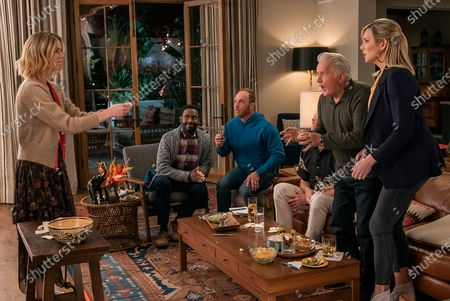 Stock Picture of Brooklyn Decker as Mallory Hanson, Baron Vaughn as Nwabudike Bergstein, Ethan Embry as Coyote Bergstein, Sam Waterston as as Sol Bergstein, Martin Sheen as Robert Hanson and June Diane Raphael as Brianna Hanson