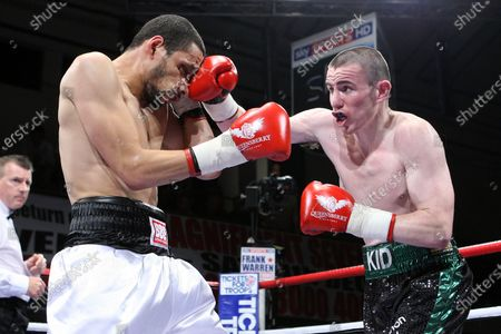 Peter McDonagh (green/black shorts) defeats Curtis Woodhouse in a Light-Welterweight boxing contest at York Hall, Bethnal Green, promoted by Frank Warren