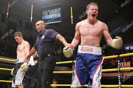 Peter Vaughan (blue/white shorts) defeats Wayne Goddard (grey/black shorts) in Quarter-Final Two of Prizefighter The Light-Middleweights II at York Hall, Bethnal Green, promoted by Matchroom Sports