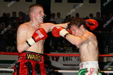 Jimmy Ward (red/black shorts) draws with Peter Vaughan in a Middleweight boxing contest at York Hall, Bethnal Green, promoted by Left Jab