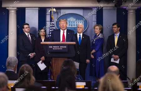 United States President Donald Trump delivers remarks on the COVID-19 (Coronavirus) pandemic during a Coronavirus Task Force briefing in the Brady Press Briefing Room Standing behind the President are, from left to right: US Secretary of Veterans Affairs (VA) Robert Wilkie, Seema Verma, Administrator, Centers for Medicare and Medicaid Services, US Vice President Mike Pence, Dr. Deborah L. Birx, White House Coronavirus Response Coordinator, and US Secretary of Defense Dr. Mark Esper.