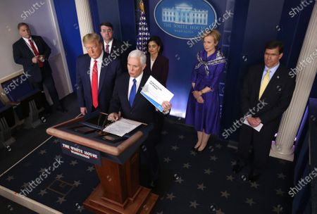 United States Vice President Mike Pence delivers remarks on the COVID-19 (Coronavirus) pandemic alongside President Donald Trump and members of the Coronavirus Task Force in the Brady Press Briefing Room Left to right, front row: United States President Donald Trump, Vice President Pence. Back row, left to right: US Secretary of Veterans Affairs (VA) Robert Wilkie, Seema Verma, Administrator, Centers for Medicare and Medicaid Services, Dr. Deborah L. Birx, White House Coronavirus Response Coordinator and US Secretary of Defense Dr. Mark Esper.