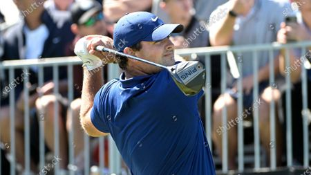 Patrick Reed watches his tee shot on the first hole during the third round of the Arnold Palmer Invitational golf tournament, in Orlando, Fla