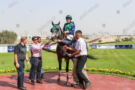 THE GREAT COLLECTION (USA) ridden by Adrie De Vries wins the 7F Jebel Ali Classic, Silver Jubilee Conditions race 4 at Jebel Ali, Dubai, UAE