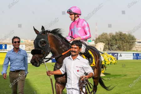 MADAME ELLINHTINA (GB) ridden by Richard Mullen wins the 7F Shadwell Farm Fillies Conditions race 6 at Jebel Ali, Dubai, UAE