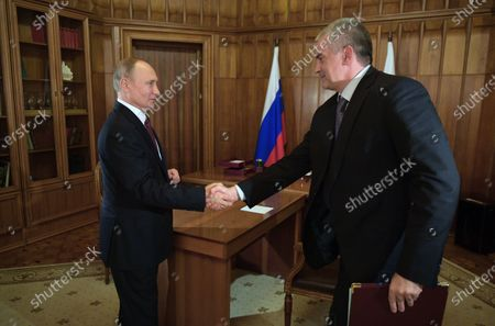 Stock Picture of Russian President Vladimir Putin (L) meets with Head of the Republic of Crimea Sergei Aksyonov (R) in Crimea, 19 March 2020.  Vladimir Putin makes a working trip to the Crimean Peninsula.