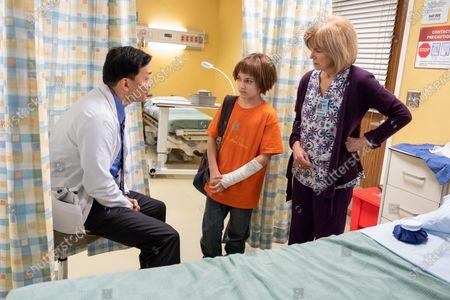 Stock Image of Eddie Shin as Doctor, Izzy G as AJ Douglas and Mary Kay Place as Carolanne