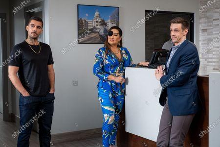 Stock Picture of Josh Segarra as Damien Sanchez, Tia Carrere as Lady Danger and Jason Michael Snow as Seth