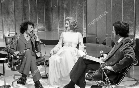 Peter Wyngarde and Sally Ann Howes, with Russell Harty