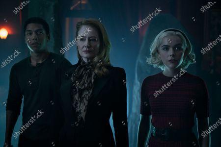 Chance Perdomo as Ambrose Spellman, Miranda Otto as Zelda Spellman and Kiernan Shipka as Sabrina Spellman
