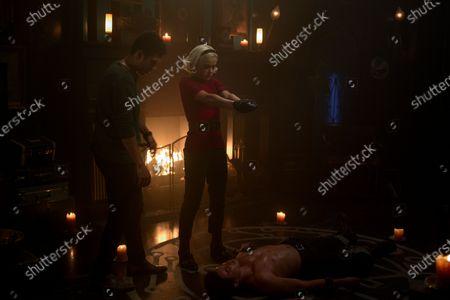 Chance Perdomo as Ambrose Spellman, Kiernan Shipka as Sabrina Spellman and Gavin Leatherwood as Nicholas Scratch