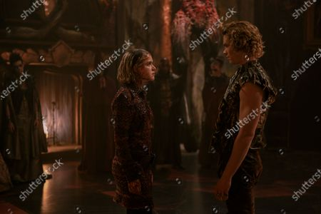 Stock Image of Kiernan Shipka as Sabrina Spellman and Sam Corlett as Caliban