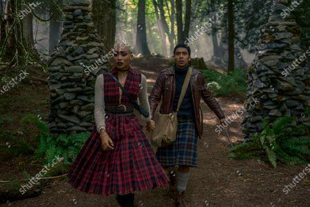 Tati Gabrielle as Prudence Night and Chance Perdomo as Ambrose Spellman