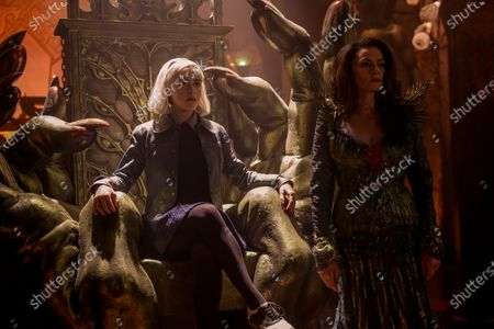 Stock Picture of Kiernan Shipka as Sabrina Spellman and Michelle Gomez as Mary Wardwell and