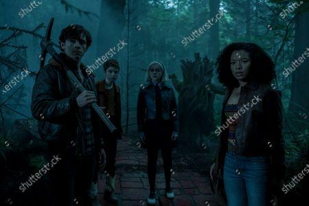Ross Lynch as Harvey Kinkle, Lachlan Watson as Theo Putnam/Susie Putnam, Kiernan Shipka as Sabrina Spellman and Jaz Sinclair as Rosalind Walker
