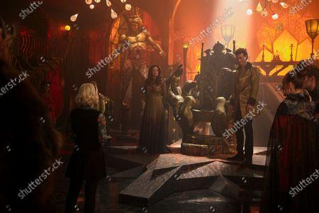 Kiernan Shipka as Sabrina Spellman, Michelle Gomez as Mary Wardwell and Luke Cook as Lucifer Morningstar