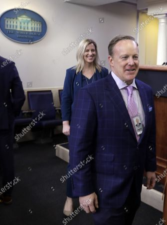 Former White House press secretary Sean Spicer walks in the briefing room before US President Donald J. Trump's briefing on the Coronavirus COVID-19 pandemic, at the White House in Washington, DC, USA, 19 March 2020.
